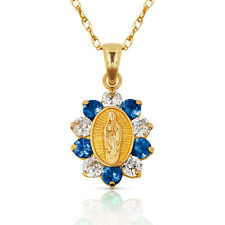 14k Yellow Gold Virgin Mary White & Blue Sapphire Religious Pendant Necklace