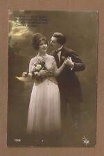 Romance postcard,RPPC La Fleur a son langage, Man courts lady with flowers
