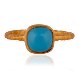 Silver Handmade Turquoise Fashion Ring Jewelry - 18K Yellow Gold Plated