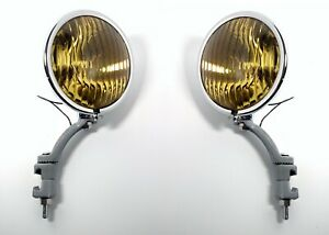 Pair Amber Fog Lights & Gray Brackets, Glass Lens Vintage 12V for 1936-38 Chevy