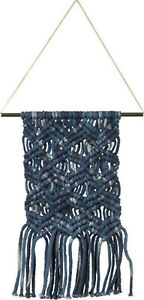 Small Bohemian Macrame Hand Woven Textile Wall Hanging Hand Knotted Blue New