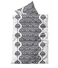 2 tlg Bettwäsche 135x200 cm weiß schwarz Ornamente Microfaser Garnitur