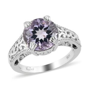 Solitaire Ring Platinum Over 925 Sterling Silver Pink Amethyst Size 7 Ct 3.4