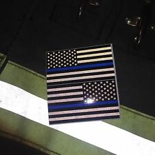 """Subdued Reflective Thin Blue Line American Flags Mirrored 3""""- POLICE FIRE DECAL"""