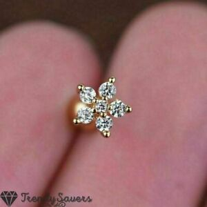 1 Piece Cubic Zirconia Cartilage Helix Flower Gold Stud Surgical Steel Earrings