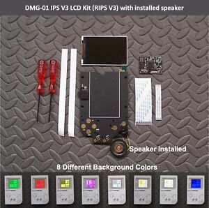 Game Boy DMG-01 Backlight IPS LCD Screen Mod Kit v3 Gold Contacts RIPS w/speaker