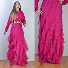 AKIRA Chicago Hot Pink GODDESS Draped Flamenco Party Cocktail MAXI DRESS S-M