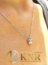 14k White Gold Round Forever Moissanite Bezel Solitaire Necklace And Chain 0.65