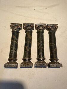 Set of 4 Antique Ingraham Clock Pillar/Column Ornament Parts