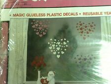 Stik-EES Valentine Hearts Red,  Pink, White, Purple Window Clings  Reusable NEW