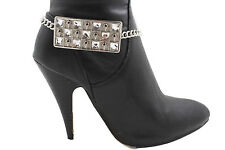 Mini Skulls Bling Anklet Shoe Charm Women Boot Bracelet Silver Metal Plate Chain