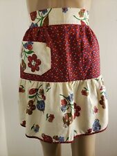 Homemade Waist Apron Women's Floral Red White Pocket 1950s 60s