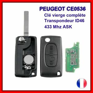CLE VIERGE CE0536 CIRCUIT ID46 POUR PEUGEOT 207 307 308 SW 2 BOUTONS ASK 433MHZ