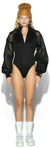 New Adidas x Ivy Park Black Mesa Mesh Long Sleeved Bodysuit Medium UK 14
