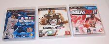 Playstation 3 Madden NFL Football 12,NBA 2K11,MLB 10 The Show Basketball