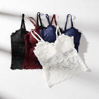Sexy Women Lace Crochet Floral Bralette Bralet Bra Bustier Crop Top Cami Tank US
