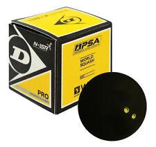 Dunlop Pro Squash Ball Double Yellow Dot - Wsf & Wsa & Psa Official Ball