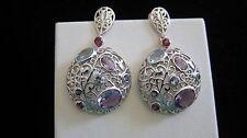 CLEARANCE!! Fine earrings!!sterling silver Amethyst Blue Topaz Iolite  earrings