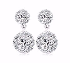 Platinum Plated Cubic Zirconia CZ Wedding Bridal Dangle Drop earrings