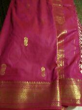 Oriental Pakistani Indian Cotton Silk Sari Saree Red Violet Purple Maroon Color