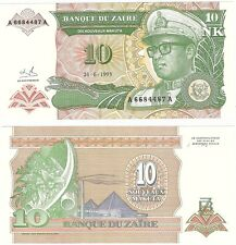 Zaire 10 Noveaux Makuta 1993 P-49 UNC Uncirculated Mobutu Dictator Banknote