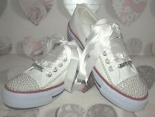 Custom Converse Style Personalised White Pearl Wedding Prom Bling Buy 3+1 Free!