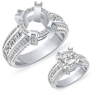 2.25Ct Round Setting Princess Diamond Engagement Ring Platinum 950 Wedding VS1 F