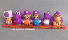 "6 pcs Super Mario Bros Purple Kong Toad Yoshi 2""-3"" Figures Toy Doll#US"