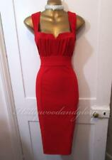 Julien Macdonald 50s Style Red Wiggle Pencil Pinup Bombshell Xmas Party Dress 12