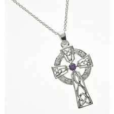 Amethyst Stone Silver Celtic Round Head Cross Pendant Necklace Celtic Jewellery