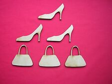 MDF STILLETTO SHOE 6.5 cm & HANDBAG 6cm -  LASER CUT MDF WOODEN CRAFT SHAPE