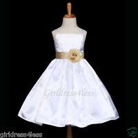 US SELLER WHITE/CHAMPAGNE FORMAL WEDDING FLOWER GIRL DRESS 12M 18M 2 4 6 8 10 12