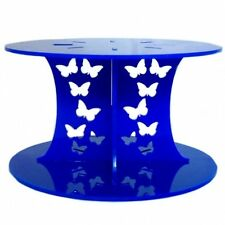 Butterfly Design Round Single Tier Cake Stand - Blue