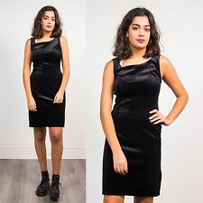 WOMENS VINTAGE 90'S BLACK VELVET FITTED SHIFT DRESS MINI SHORT GLAM GRUNGE 10