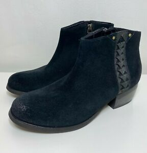 Clarks Maypearl Fawn Black Suede Leather Womens Heeled Ankle Boots Size UK 4 D