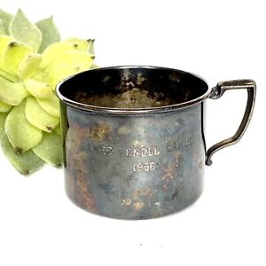1956 MCM Modern Baby Child Cup Mug Engraved Silverplate Collectible Kitchen