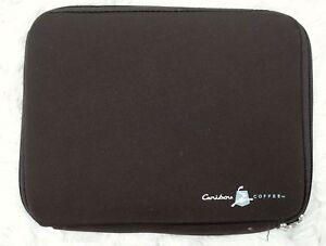 Caribou Coffee Tablet Reader Soft Sleeve Zip Up Neoprene Padded Bag Brown 8.5x11