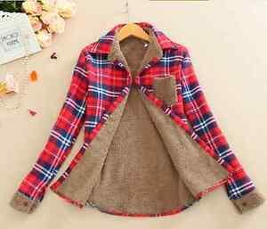 Womens Thick Velvet Long Sleeve Coats Fur Lined Slim Fit Plaid Shirt Top Blouse