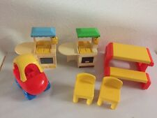 Lot 6 pc Little Tikes Dollhouse Cozy Coupe Car Picnic Table 2 Kitchens 2 Chairs