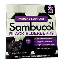 Sambucol Black Elderberry Syrup (2) 7.8 oz Pack Of Two Immune Support NO BOX