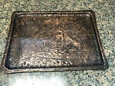 Vintage Coppersmith Hammered Copper Tray. With Ship Engraving In Copper