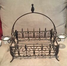 Southern Living Acanthus Iron Basket-Centerpiece w/Votive Holders & Candles
