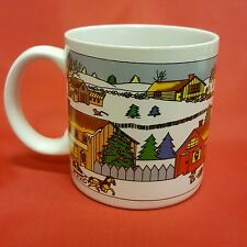 Downtown City Stores Christmas Shopping Coffee Mug Winter Snow Church