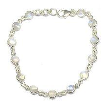 Handmade 925 Sterling Silver Bracelet Round Rainbow Moonstone Stones + Gift Box