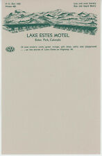 1950s Lake Estes Park Motel Letterhead Stationery Colorado Lake Resort CO
