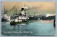 CLEVELAND OH CUYAHOGA RIVER STEAMER SHIP 1911 ANTIQUE POSTCARD