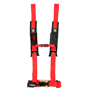 """Pro Armor 4 Point 2"""" Seat Belt Harness Red Arctic Cat Textron Wildcat Prowler"""