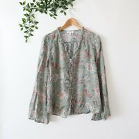 Umgee Women's Long Bell Sleeve Floral Print Ruffle Trim Button Front Top L Large