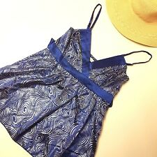 MOOLOOLA size 8 Blue & Silver Shimmer Waist Tie Occasion Adjustable Silk Top