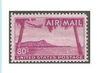 US Airmail 1952, C46, Diamond Head, Hawaii, Mint,NH,OG, Bright Color, Fresh